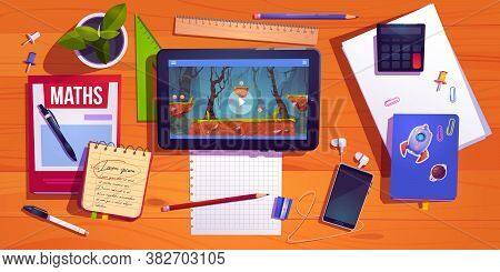 Student Desk Top View, Teenager Home Workplace Table With Studying Stationery Tablet With Computer G