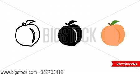 Peach Icon Of 3 Types Color, Black And White, Outline. Isolated Vector Sign Symbol.