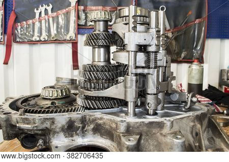 View From The Side Of The Gearshift Mechanism On The Shafts With Gears Installed In The Cover Of The