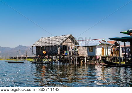 Inle Lake, Myanmar (burma) - January 30, 2018: Traditional Intha Wooden Stilt Houses On Inle Lake.