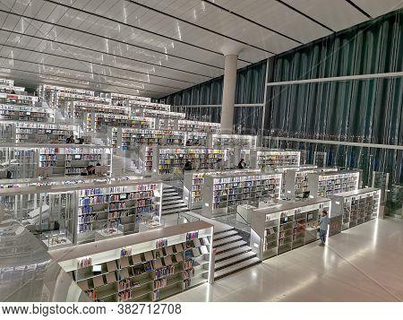 Doha / Qatar - October 9, 2018: Interior Of The National Library Of Qatar In The Qatari Capital Doha