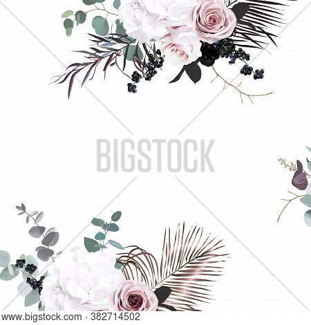 Black And Dusty Pink Flowers Glamour Vector Design Bouquet Frame. Dusty Blush Pink Rose, White Hydra