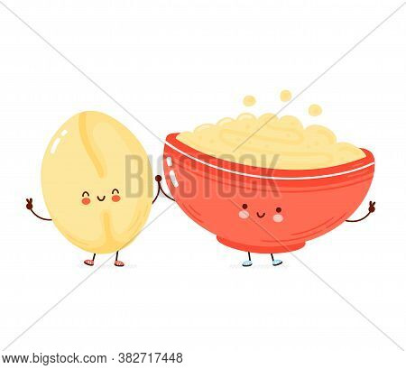 Cute Happy Bowl Of Oatmeal Porridge And Oat Grain. Isolated On White Background. Vector Cartoon Char