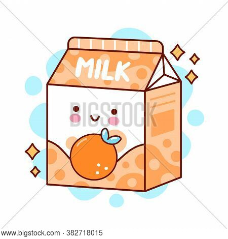 Cute Happy Funny Flavored Milk. Vector Flat Line Cartoon Kawaii Character Illustration Icon. Isolate