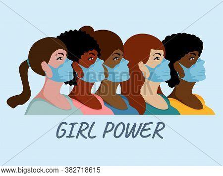 Girl Power. Women Wear Face Medical Mask Vector Illustration. International Women Day On Blue Backgr