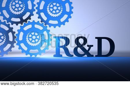 Large Letters R&d Abbreviation Of Research And Development With Gears On Blue Background. 3d Illustr