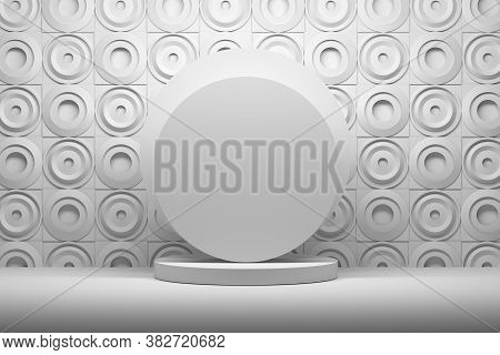 Round Presentation Mockup Template Stand On The Background Of Pattern With Round Circle Shapes. 3d I