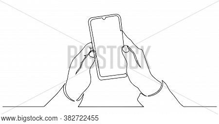 Continuous One Line Drawing Smartphone Phone In Hand. Continuous One Line Drawing Cell Phone In His