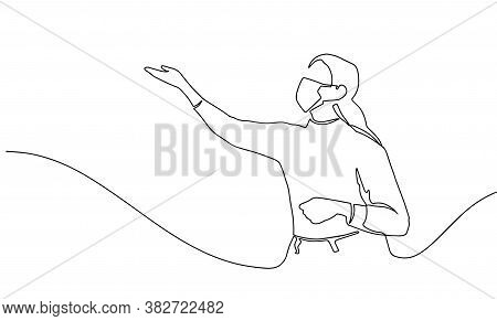 Continuous Line Drawing Of Happy Woman Raising Hand. Continuous Line Art Or One Line Drawing Of A Wo
