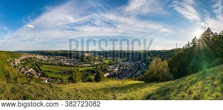 Panoramic View On City Eichstätt From Moutain On Sunny Summer Day