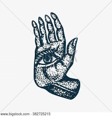 Mystical Magic Hand. Esoteric Or Alchemy Occult Sketch For Tattoo. Fate In The Palm Of Your Hand. Dr
