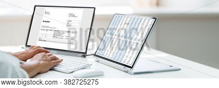 Woman Analyzing Digital E Invoice Using Online Software