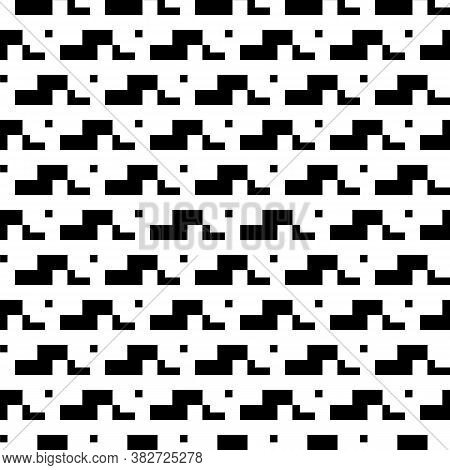 Repeated Puzzle Figures Background. Seamless Surface Pattern Design With Mosaic Ornament. Ethnic Emb