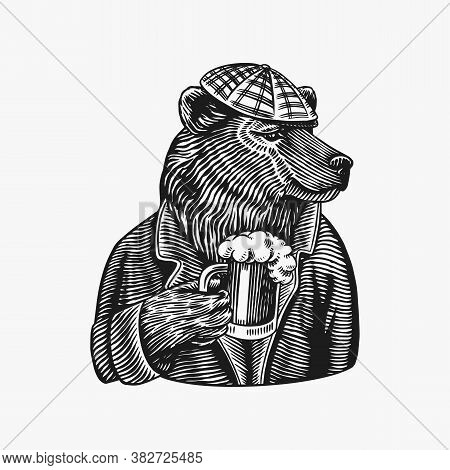 Grizzly Bear With A Beer Mug. Brewer With A Glass Cup. Fashion Animal Character. A Wild Beast In A N