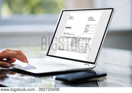 Businessperson Analyzing Online Invoice. Young Woman Using Computer