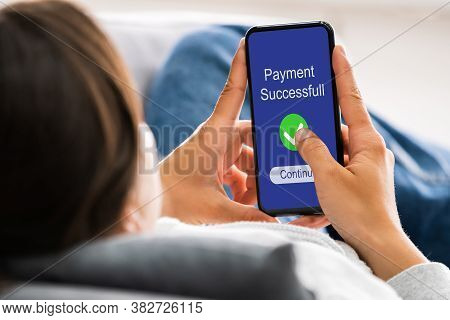 Online Mobile Money Payment Success On Cell Phone