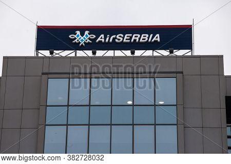 Belgrade, Serbia - October 2, 2018:  Logo Of Air Serbia, On Their Main Office At Dusk. Air Serbia, P