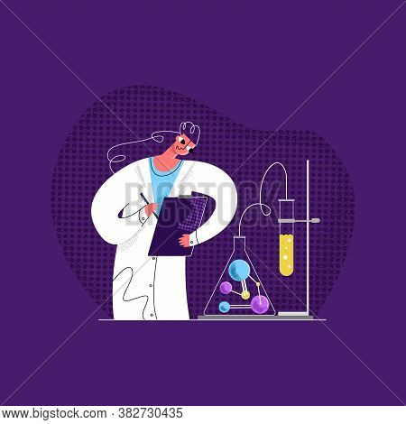 Vector Flat Illustration Young Female Scientist Who Analyzes Result Of Laboratory Study On Discovery