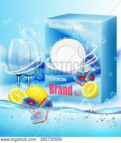 Two Clean Glasses  In Soap Foam And Bubblies And Packing With Dishwasher Detergent Tabs With Scent O