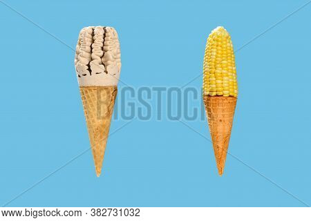Milk Tea Flavor Ice Cream Cone With A Similar Look Maize Plus An Empty Cone On Blue Background Conce
