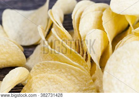 Potato Chips, Close-up Of Chips With A Golden Color, Harmful High-calorie Food, Chips Are Real And C