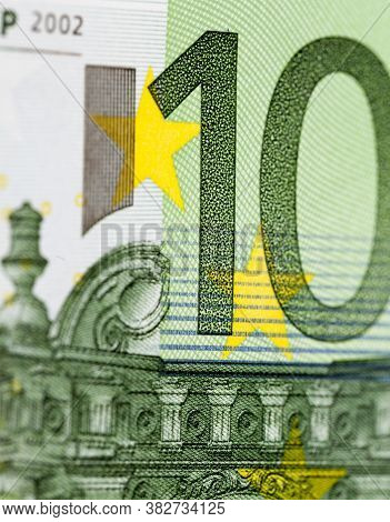 Genuine European One Hundred Euro Bill, Close-up Of European Union Cash Used In Different Countries,