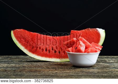 Slices And Chunks Of Red Juicy Watermelon Sliced On The Table, Natural Food Product, Closeup