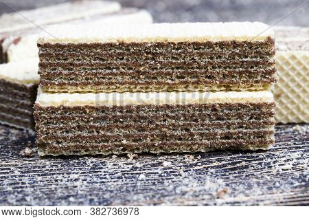Waffles Made From Flour And Chocolate, Closeup Of Food Made In An Industrial Facility, High Calorie