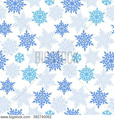 Different Blue And Pale Blue Openwork Snowflakes On A White Background. Vector Seamless Pattern For