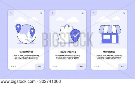 Global Market Secure Shopping Marketplace Onboarding Screen For Mobile Apps Template Banner Page Ui