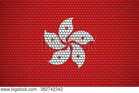 Abstract Flag Of Hong Kong Made Of Circles. Hongkonger Flag Designed With Colored Dots Giving It A M
