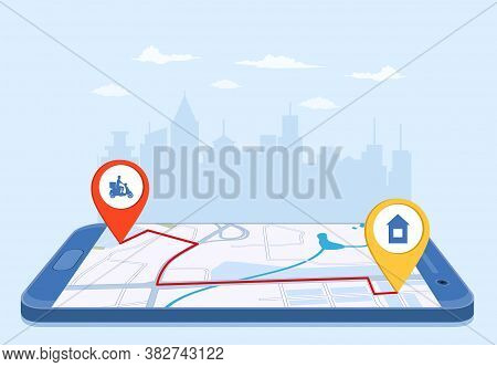 Online Delivery Service Concept, Online Order Tracking, Delivery Home And Office. Goods Shipping, Fo