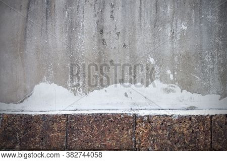 The Texture Of Old And Dirty With White Paint Stains On Cement Walls For The Background.