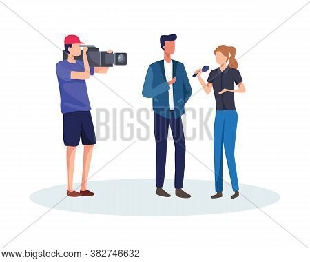 Journalists Take Interview. Journalist And Operator Interview Television Program Or News. Tv Host Or