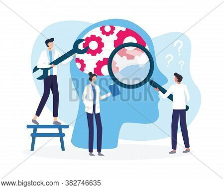 Mental Health Medical Treatment Vector Illustration. Broken Mental Health Psychological Therapy. Spe