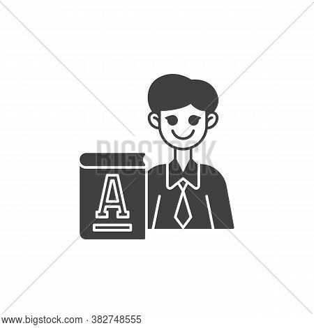 Primary School Teacher Vector Icon. Filled Flat Sign For Mobile Concept And Web Design. Man Teacher