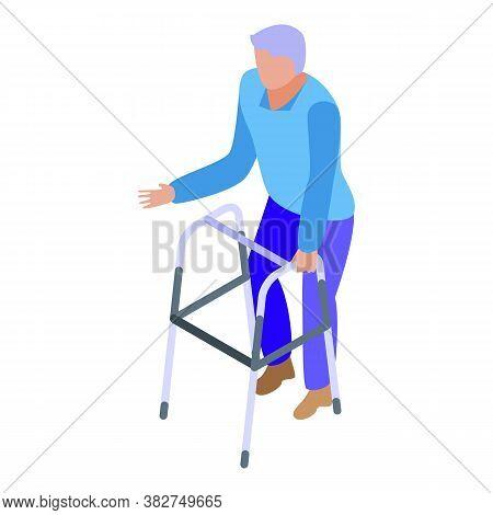 Nursing Home Granny Walker Icon. Isometric Of Nursing Home Granny Walker Vector Icon For Web Design