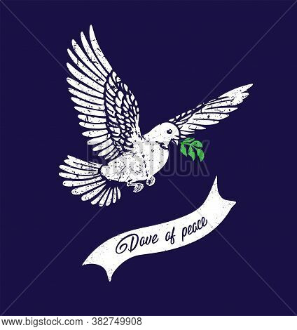 Bird Silhouette.dove Of Peace With Olive Branch.the Dove Flies And Carries A Leaves In Its Beak.the