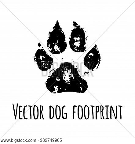 Vector Black Pet Dog Grunged Footprint Paw Mark Silhouette Drawing Sign Illustration Isolated On Whi