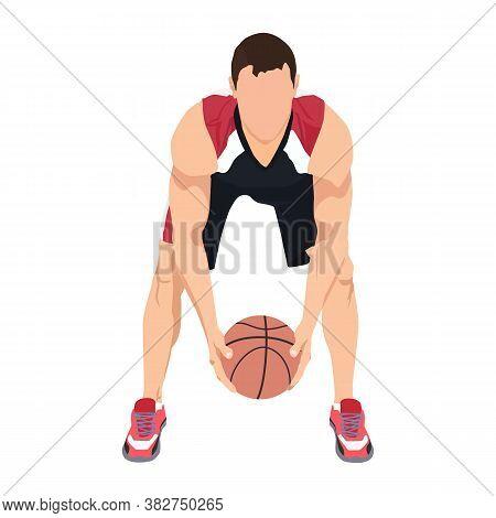 Basketball Dribbling Skills, Moves, Tricks. Athlete, Professional Basketball Player With Ball, Vecto