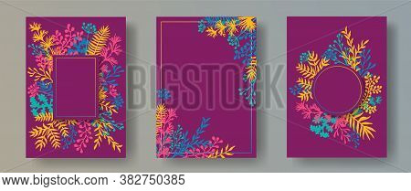 Cute Herb Twigs, Tree Branches, Leaves Floral Invitation Cards Templates. Bouquet Wreath Elegant Inv