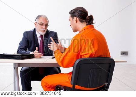 Young captive meeting with advocate in pre-trial detention