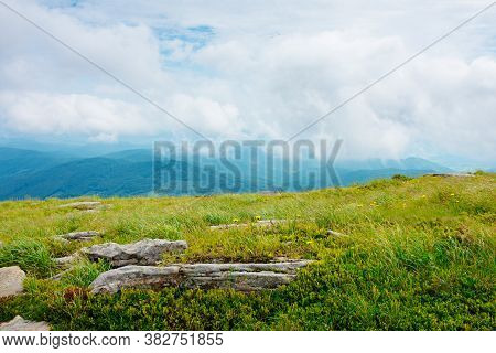 Rocks On The Hillside. Summer Mountain Landscape On Carpathians On A Cloudy Day