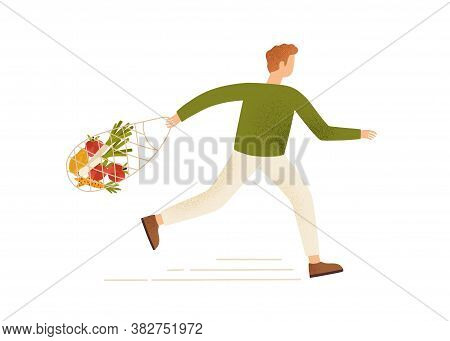 Male Running Carry String Or Turtle Bag Full Of Products Vector Flat Illustration. Buyer Man Hurry O