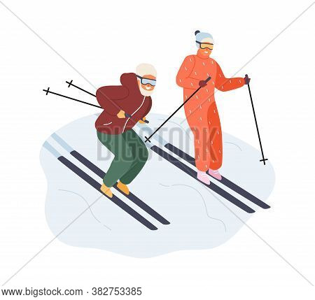 Active Mature Couple In Sportswear Ride On Ski Vector Flat Illustration. Happy Man And Woman Enjoyin