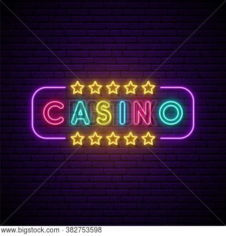 Casino Neon Sign. Bright Light Signboard With Casino Emblem. Stock Vector Illustration In Neon Style