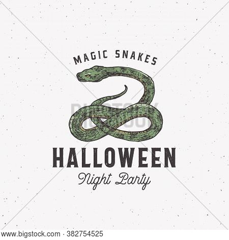 Magic Snakes Halloween Night Party Sign, Logo Or Label Template. Hand Drawn Colorful Reptile Sketch