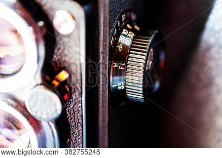 Close-up Of A Fragment Of An Old Twin Lens Reflex Camera. Selective Focus.