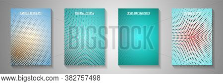 Decorative Circle Faded Screen Tone Front Page Templates Vector Set. Geometric Magazine Perforated S