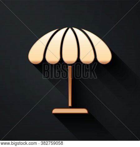 Gold Sun Protective Umbrella For Beach Icon Isolated On Black Background. Large Parasol For Outdoor